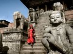 A woman descends the steps of the 18th-century Nyatapola Temple in Bhaktapur....